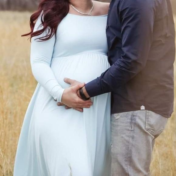 465d681a823 Pinkblush Dresses | Light Blue Solid Off Shoulder Maternity Maxi ...